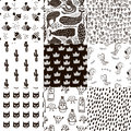 Set of 8 creative scandinavian style childish patterns. All samples are in swatches panel. Vector kids background