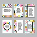 Set of creative universal design in memphis style. Backgrounds with abstract elements. Royalty Free Stock Photo