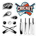 Set of cricket sports template logo elements - ball, bat. Use as icons, badges, label designs or print. Vector