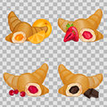 Set of croissants with different fillings.