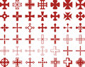 Set of cross signs illustrated different red isolated on white background Stock Photos