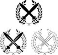 Set of crossed swords with laurel wreaths Royalty Free Stock Photography