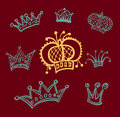 Set of crowns background Stock Photo