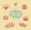 Set of crowns background Stock Photos