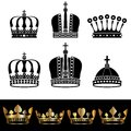 Set of crowns vector illustration Royalty Free Stock Photography