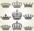 Set crowns in vintage style the vector image Stock Image