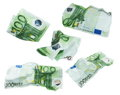 Set crumpled banknote hundred euros isolation on white background with clipping path high resolution Stock Images