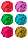 Set of crumpled silk fabric color Royalty Free Stock Photos