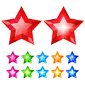 Set of crystal stars Royalty Free Stock Image