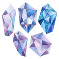 A set of crystals. Watercolor drawing. Faceted stones. Royalty Free Stock Photo