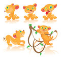 Set of cubs cartoon characters children s lions in different poses Royalty Free Stock Photo