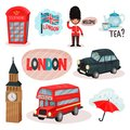 Flat vector set of cultural symbols of United Kingdom. Red phone booth, guardsman, traditional tea, Big Ben, transport