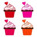 Set of cupcake with heart for Valentine`s Day. Vector illustration