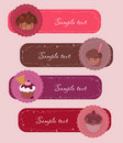 Set of Cupcakes Banners Stock Photo