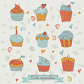 Set of cupcakes cute in cartoon style Stock Photo
