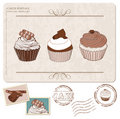Set of cupcakes on old postcard, with stamps Stock Photo