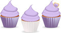 Set of cupcakes with purple or lilac icing Royalty Free Stock Photography