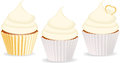 Set of cupcakes with vanilla icing Royalty Free Stock Image