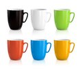 Set of cups high detailed vector illustration colorful on white background Royalty Free Stock Photos
