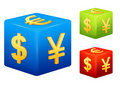 Set of currency symbols placed on colorful cubes Royalty Free Stock Photo