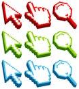 Set Cursor Icons Three-Dimensional Red Green Blue
