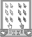 Set cursors icons arrow spear pen hand hourg hourglass for control or navigation website internet computer mobile telephone tablet Stock Photos