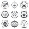 Set of Custom Car and Bike Garage Label and Badge Design Vector