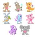 Set from cute animals dog, deer, Fox, rabbit, pony, Teddy bear, elephant, sea beast.