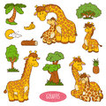 Set of cute animals and objects, vector stickers of giraffes Royalty Free Stock Photo