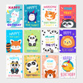 Set of cute animals poster. Cute Happy birthday greeting card for child fun cartoon style Royalty Free Stock Photo