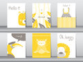 Set of cute animals poster, template, cards, bear, bird, lion, rabbit, zoo, Vector illustrations