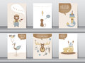 Set of cute animals poster,template,cards,bear,cat,wolf,bird,rat,deer,zoo,Vector illustrations Royalty Free Stock Photo
