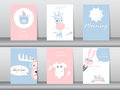 Set of cute animals poster,template,cards,bear,rabbit,giraffe,deer,zoo,Vector illustrations