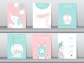 Set of cute animals poster,template,cards,elephant,bird,fish,bear,wolf,zoo,Vector illustrations Royalty Free Stock Photo