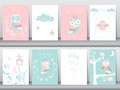 Set of cute animals poster,template,cards,owls,boho,Vector illustrations