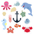 Set of cute baby animals. collection of badges and labels underw