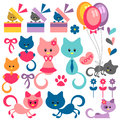 Set of cute baby kittens Stock Images