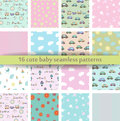 Set of 16 Cute baby seamless pattern. Retro pink, white and blue colors. Texture for wallpaper, web page background, fabric and pa Royalty Free Stock Photo