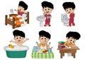 Set of daily cute boy,boy wake up,brushing teeth,kid pee,taking