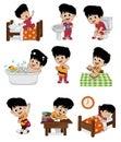 Set of daily cute boy.Boy wake up,brushing teeth,kid pee,taking