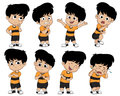 Set of cute boy pose showing different emotions. Basic seven of e