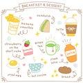 Set of Cute Breakfast and Dessert Doodle