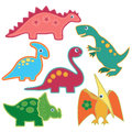 The set of cute bright dinosaurs patches vector illustration. Cardboard dino style.