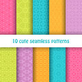 Set of cute bright seamless patterns. Abstract geometric background Royalty Free Stock Photo