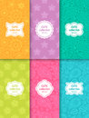 Set of cute bright seamless patterns with frames. Abstract geometric background Royalty Free Stock Photo