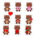 Set of cute brown bears in sitting pose with different things in paws