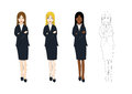 Set Cute Business Woman Arm Folded with Confident. Full Body Vector Illustration.