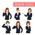 Set Cute Business Woman Cartoon Character. Vector Illustration.
