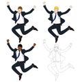 Set Cute Business Woman Jumping Celebration. Full Body Vector Illustration.