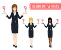 Set Cute Business Woman Making Selection with Serious Face. Full Body Vector Illustration